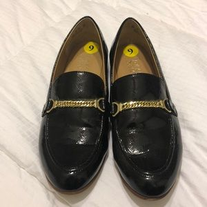 Franco Sarto Persephone blk patent leather loafer